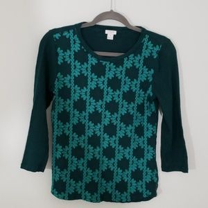 J Crew Sz S long sleeve tee, green with embroidery